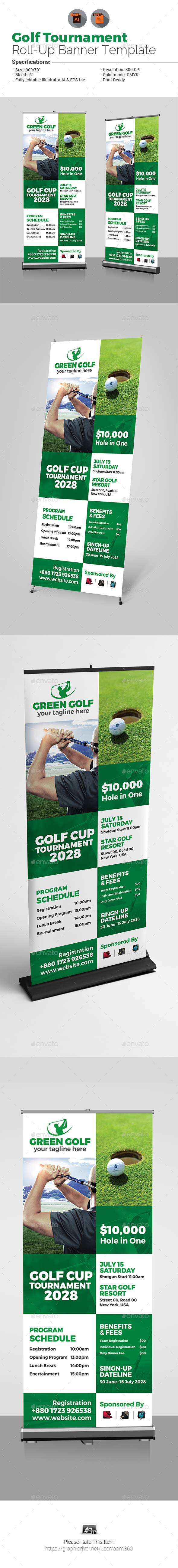 Golf Tournament Promotion Roll-up Banner - Signage Print Templates