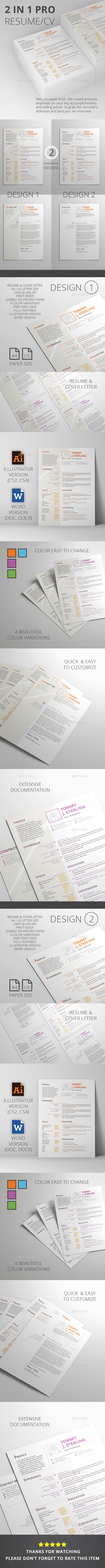 GraphicRiver 2 In 1 Pro Resume CV 20479494