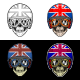 Biker Skull UK Helmet With 4 Style Color