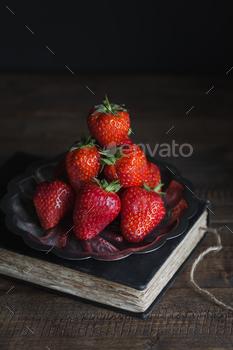 Fresh Strawberries Stacked on Silver Platter