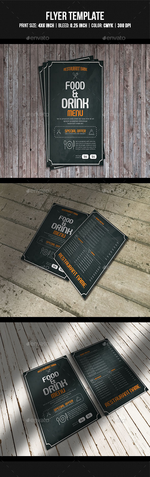 Food Menu Flyer Template - Food Menus Print Templates