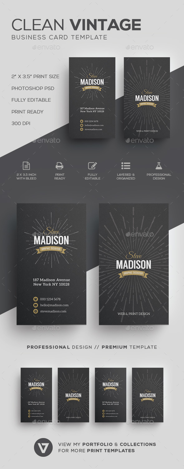 Retro / Vintage Business Card Template by verazo | GraphicRiver