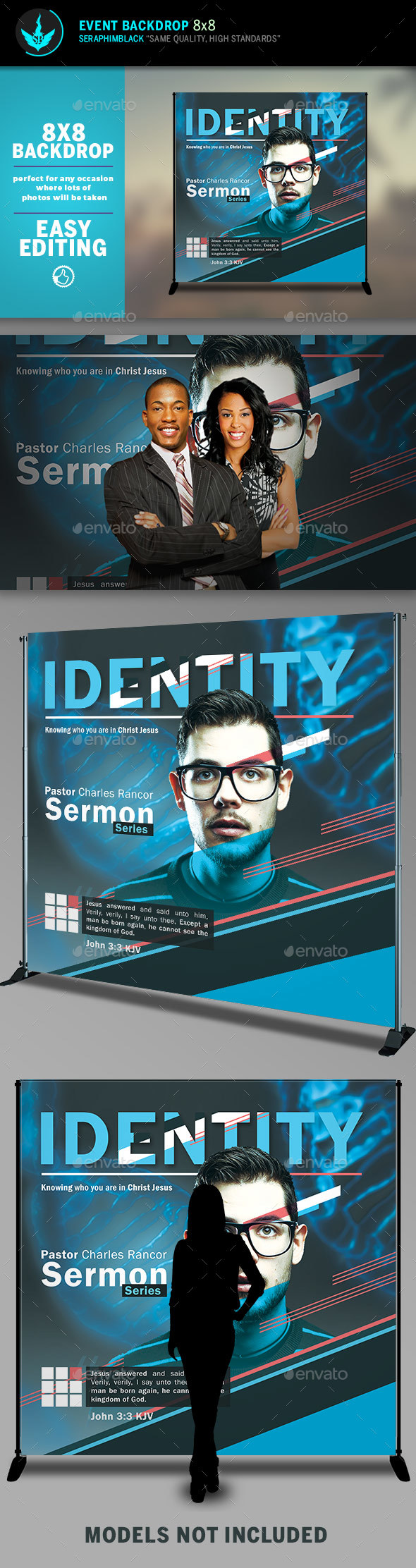 Identity 8x8 Event Backdrop Template - Signage Print Templates