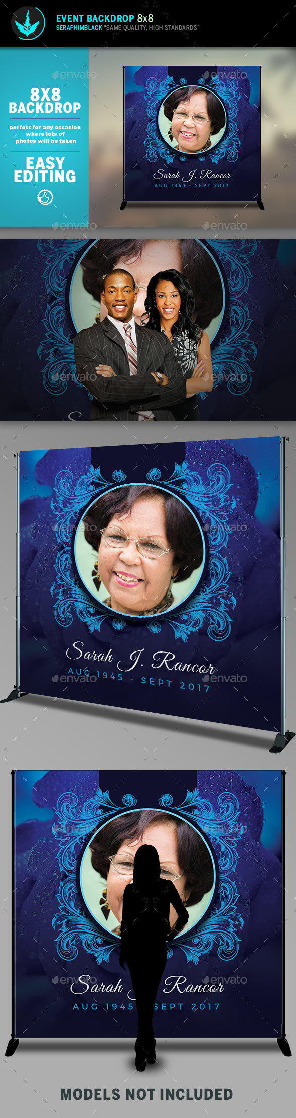 Blue Rose 8x8 Funeral Backdrop Template - Signage Print Templates