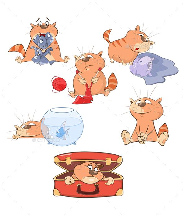 Set of Cartoon Cats - Animals Characters