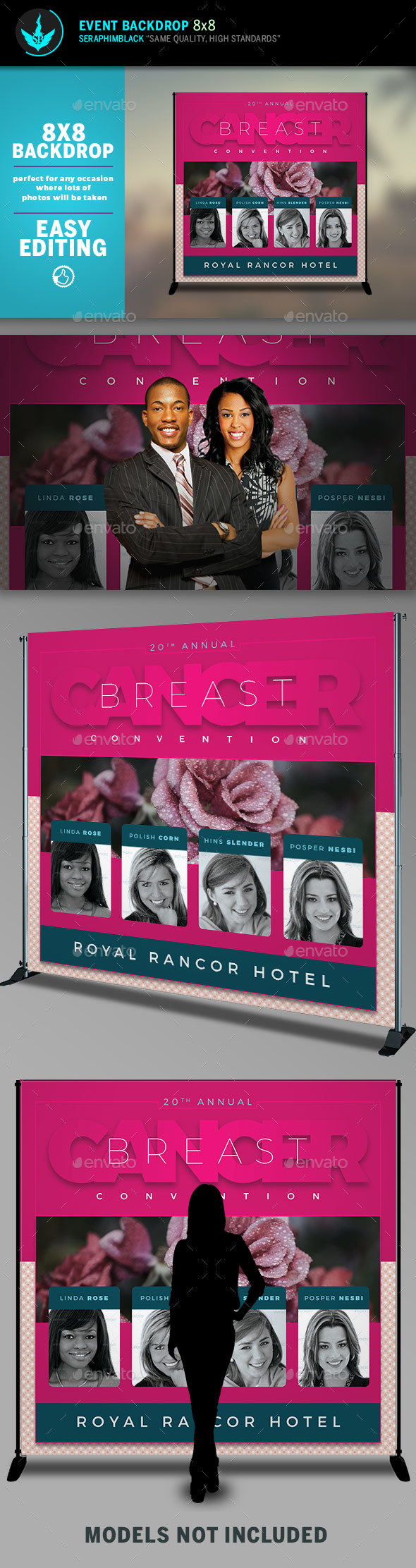 Breast Cancer Convention 8x8 Event Backdrop Template - Signage Print Templates