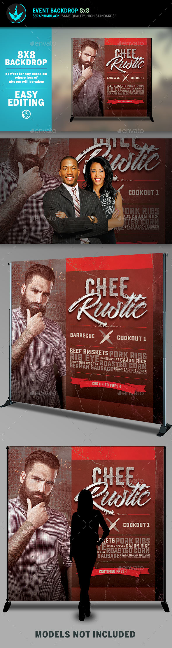 Chef Cookout 8x8 Event Backdrop Template - Signage Print Templates