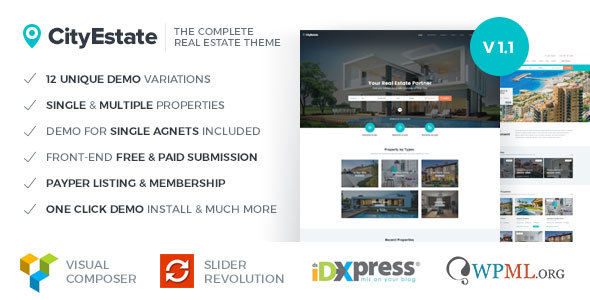 Image of CityEstate - Complete Real Estate WordPress Theme