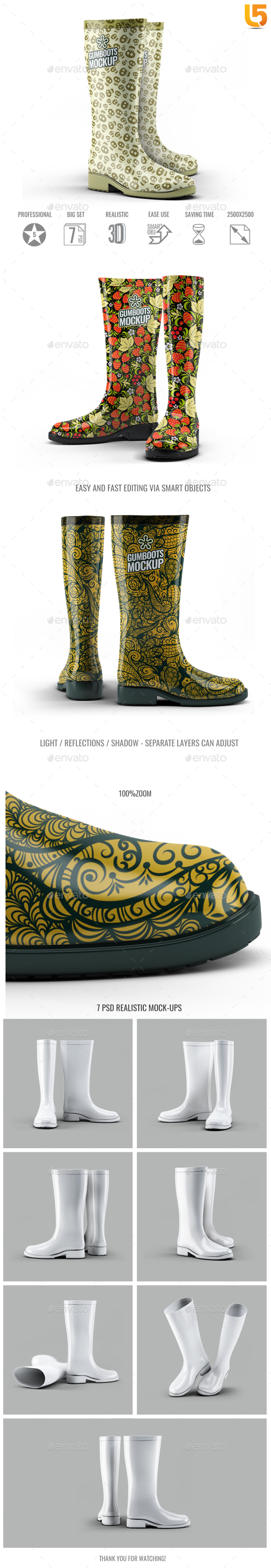 Gumboots Mock-Up - Miscellaneous Apparel