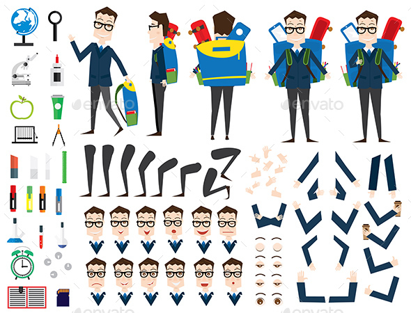 GraphicRiver School Boy Character Animation Set Front Back Side View 20480332