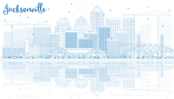 Outline Jacksonville Skyline with Blue Buildings and Reflections. - Buildings Objects