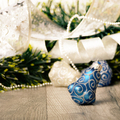 Christmas background of nuts stripes and decorations - PhotoDune Item for Sale