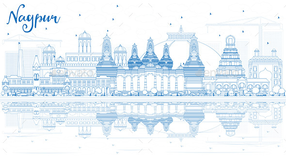 Outline Nagpur Skyline with Blue Buildings and Reflections. - Buildings Objects