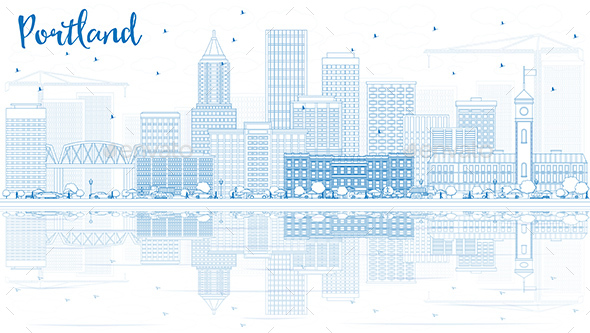 Outline Portland Skyline with Blue Buildings and Reflections. - Buildings Objects