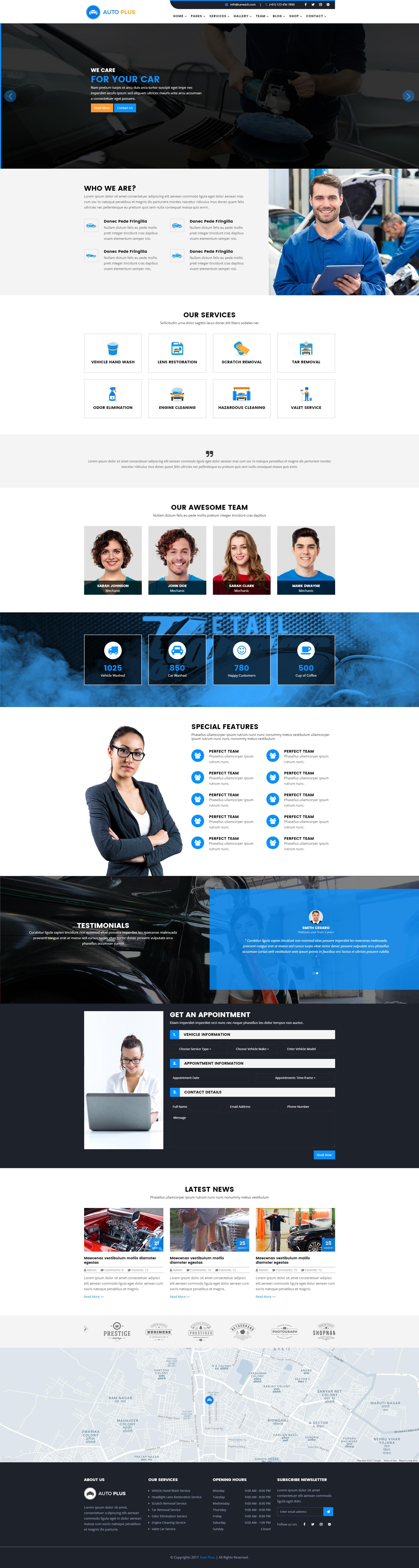 Auto plus car wash and car repair html template