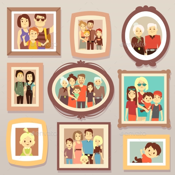 Big Family Smiling Photo Portraits in Frames - Objects Vectors