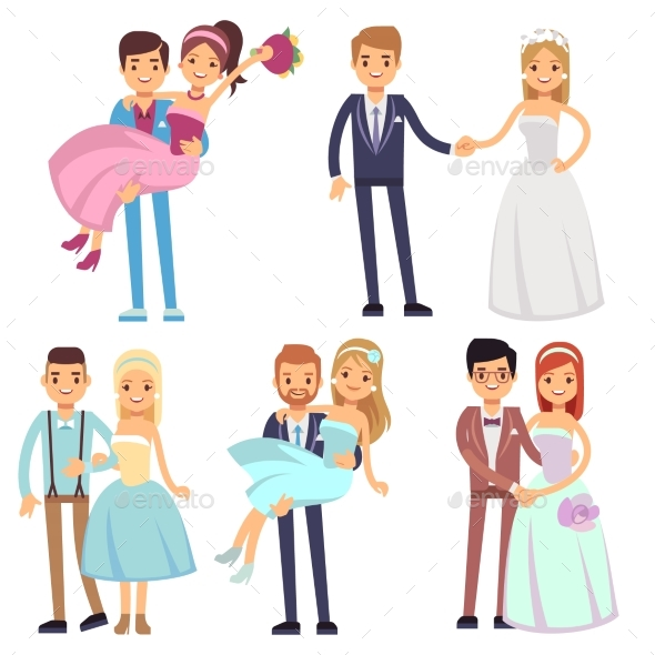 GraphicRiver Happy Smiling Wedding Couples Isolated Vector Set 20480984