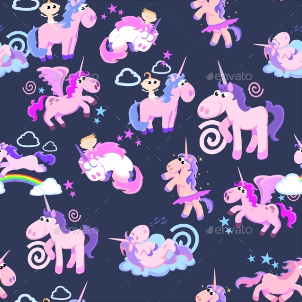 Cute Unicorn Seamless Pattern, Magic Pegasus - Miscellaneous Vectors