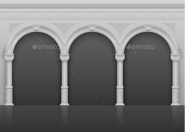 GraphicRiver Classic Roman Antique Interior with Stone Arches 20481037
