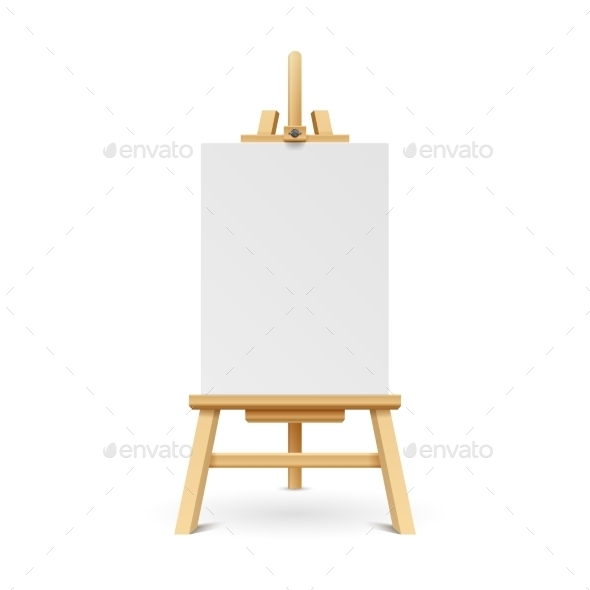 Wooden Paint Board with White Empty Paper Frame - Objects Vectors
