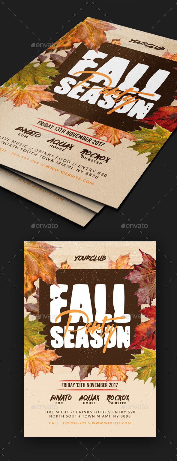 Fall Season Party Flyer - Clubs & Parties Events