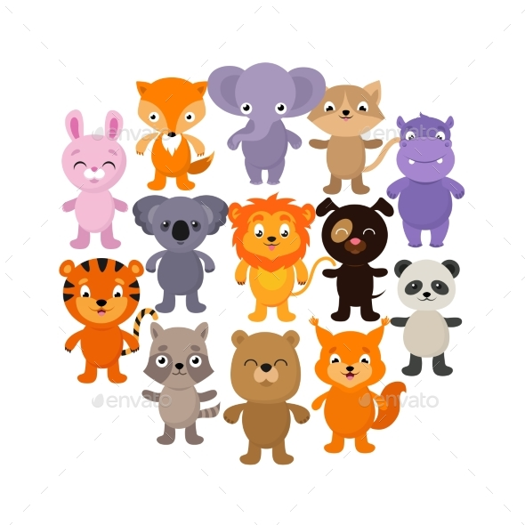 Forest, Savana and Jungle Baby Animals. Cartoon - Animals Characters
