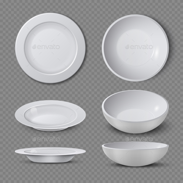 White Empty Ceramic Plate in Different Points - Objects Vectors