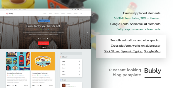 Image of Bubly - A Pleasant Looking Multipurpose HTML Template