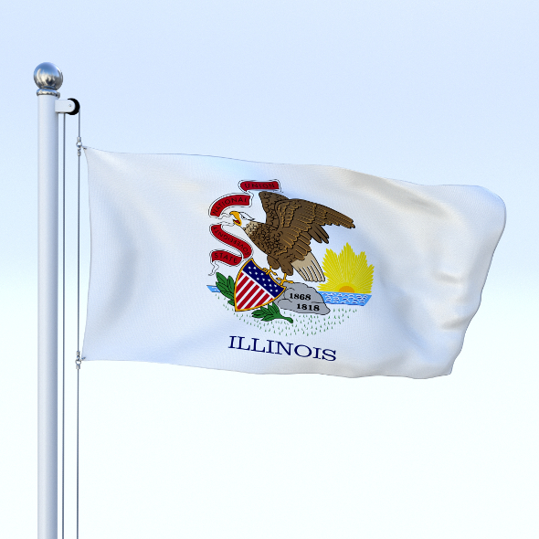 Animated Illinois Flag - 3DOcean Item for Sale