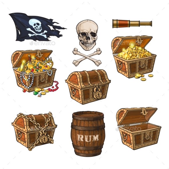 GraphicRiver Pirate Objects Treasure Chests Flag Rum Barrel 20481687