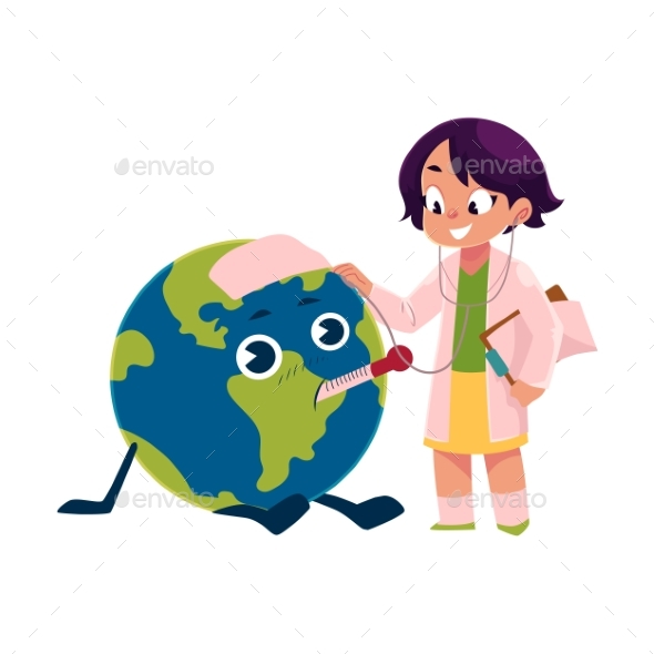 GraphicRiver Girl Playing Doctor with Globe Earth Planet 20481764