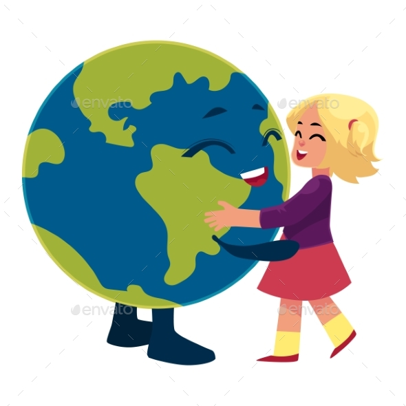 GraphicRiver Girl Dancing with Globe Earth Planet Character 20481775