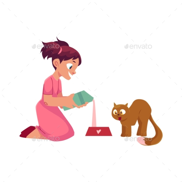Little Girl Pouring Milk for Her Cat, Feeding Pet