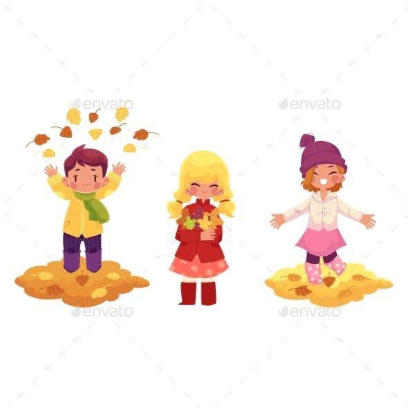 Vector Children Doing Autumn Activity Set - People Characters