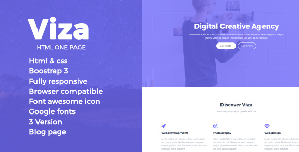 Viza HTML One Page Template - Creative Site Templates