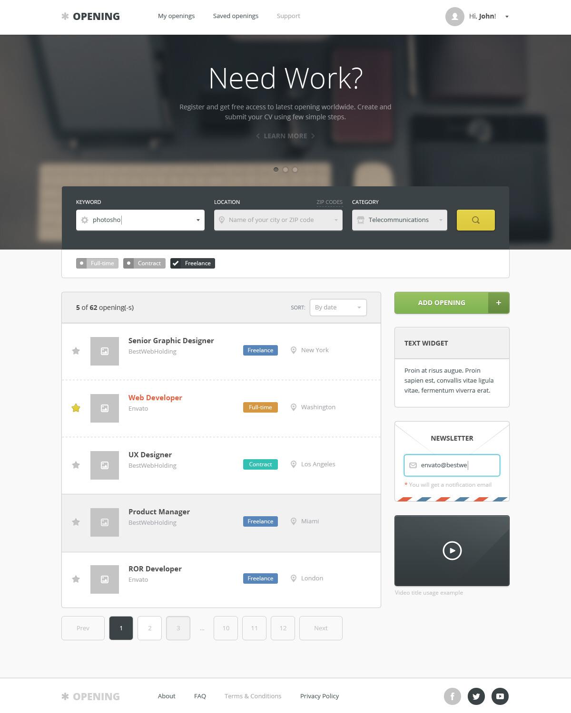 Opening - Job Board HTML Template by bestwebholding   ThemeForest