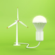 Wind turbine and glowing light bulb - PhotoDune Item for Sale