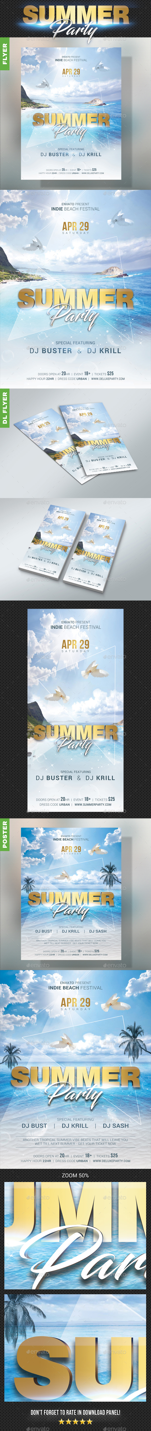 GraphicRiver Summer Dj Party Bundle 20482037