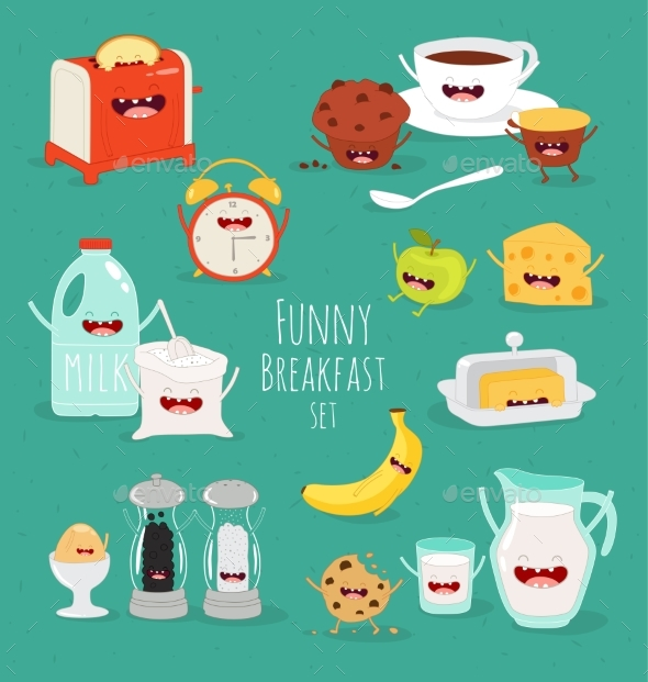 GraphicRiver Breakfast Set Comic Characters Vector 20482063
