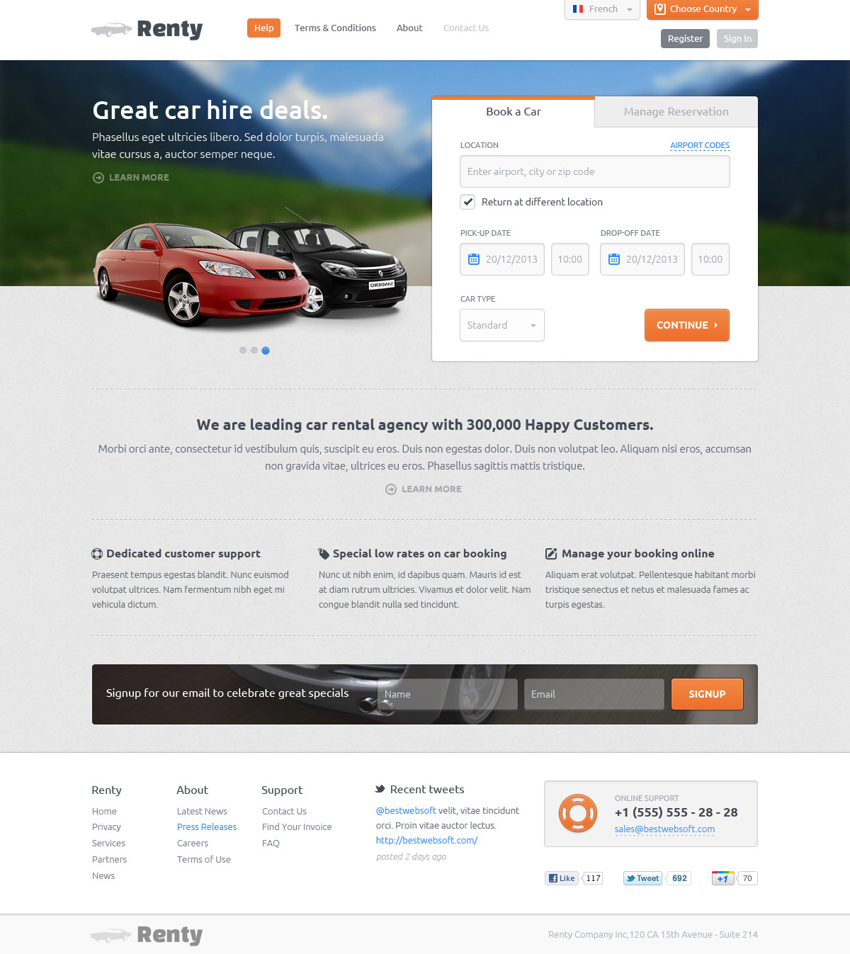 Renty car rental booking html5 template