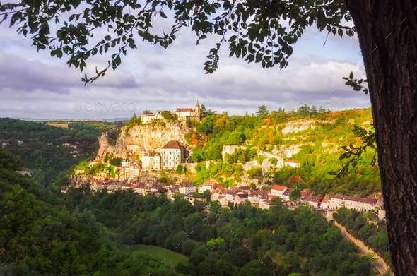 Scenic view of historical Rocamadour town at sunrise, France