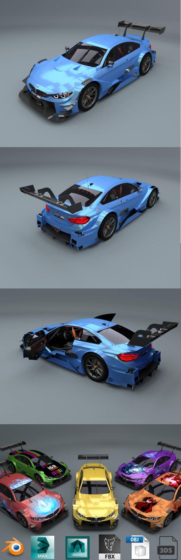 bmw m4 dtm 2017 low poly car - 3DOcean Item for Sale
