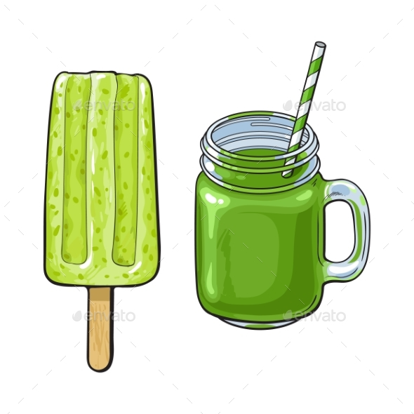 Matcha Green Tea Desserts - Smoothie and Popsicle - Food Objects