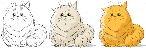 Cartoon Sitting Big Cat Vector Set - Animals Characters