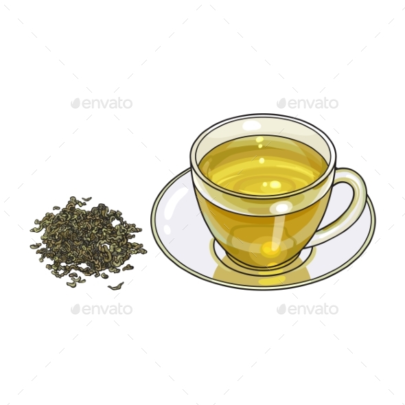 GraphicRiver Glass Cup Saucer and Fresh Green Tea Leaf 20482181