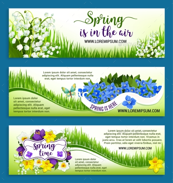 Hello Spring Flowers Wreath Vector Banners Set - Flowers & Plants Nature