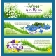 Hello Spring Flowers Wreath Vector Banners Set - GraphicRiver Item for Sale