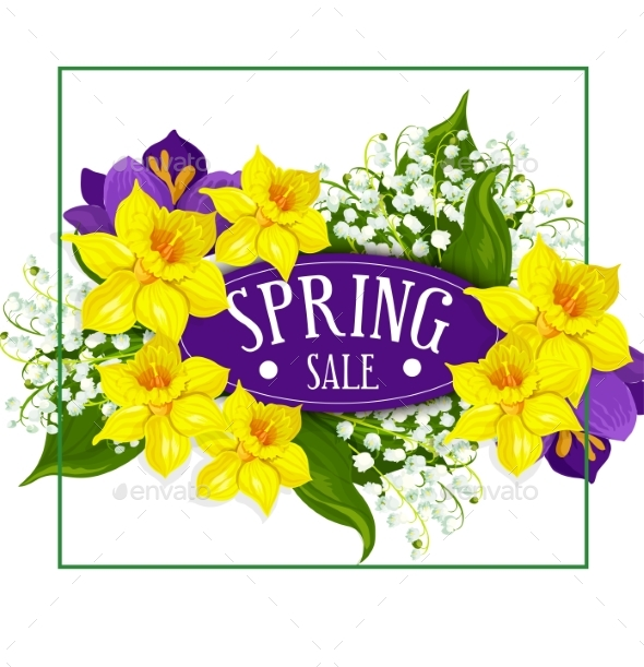 GraphicRiver Spring Holiday Sale Vector Poster Flowers Bouquet 20482210