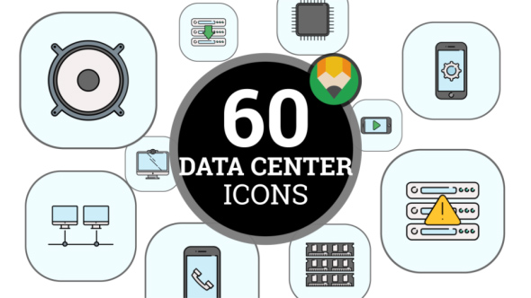 Data Center Device Information Animation - Flat Icons and Elements