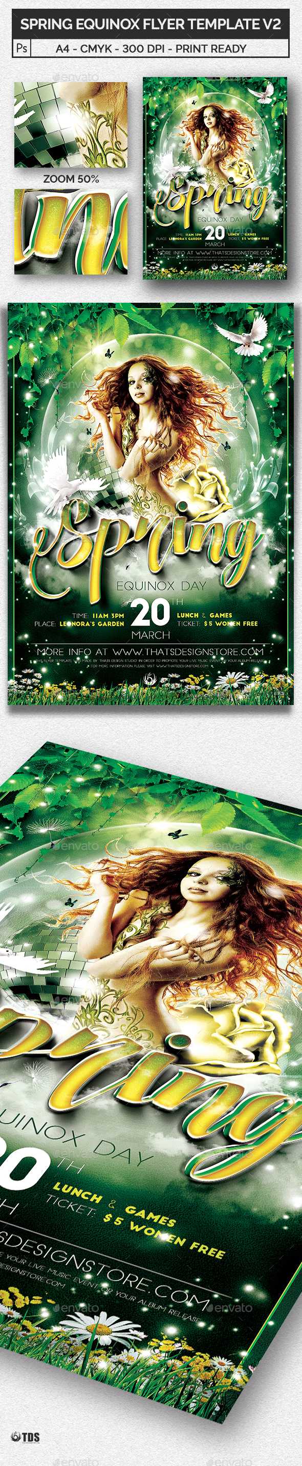 Spring Equinox Flyer Template V2 - Clubs & Parties Events